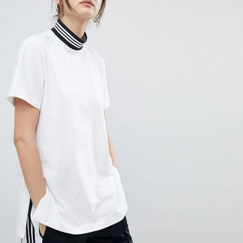 adidas originals striped high neck white simple t shirt