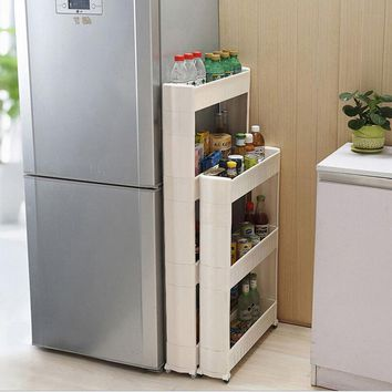 1 Pc White Gap Storage Shelf For Kitchen Storage Skating Movable Plastic Bathroom Shelf Save Space 3 and 4 layers High Quality