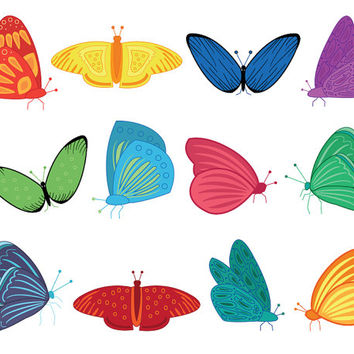 Butterfly Clip Art, digital png images, colorful butterflies, artwork for card making, invites, decorations, parties and creative projects