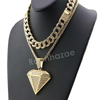 Hip Hop Iced Out Quavo DIAMOND Miami Cuban Choker Tennis Chain Necklace L02
