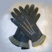 Vintage 40s Black Leather Gloves - 1940s Gauntlets - Fancy Top Stitching
