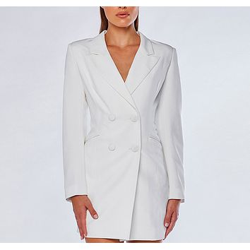 Fashion new women's lapel Slim thin long-sleeved double-breasted long blazer