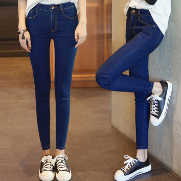2016 Time-limited Sale American Apparel High Waist Jeans The Autumn Of 2016, Wind Skinny Waist Pencil Pants Nine Female Jeans