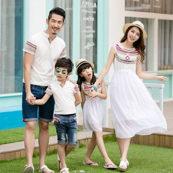 Ethnic Style Family Vacations Summer Matching Outfit Totem Mother Daughter Chiffon Dress Dad Son Short Sleeve V Neck T Shirt