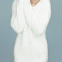 White Mohair V Neck Long Sleeve Jumper