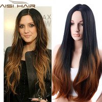 Long Wavy Ombre Wig Synthetic Brown Ombre Wigs of Natural Hair Long Wavy Synthetic Wigs for Black Women Heat Resistant