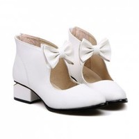 Casual Women's Pumps With Joker Pure Color and Sweet Bows Design