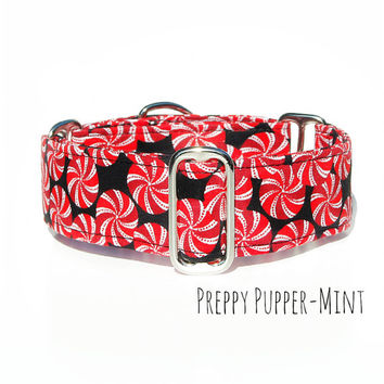 Preppy Christmas Dog Collar, Martingale, Buckle, Tag or House Collar, 2 inch, 1 inch, 1.5 inch wide, all breeds, greyhounds, boxers, hounds