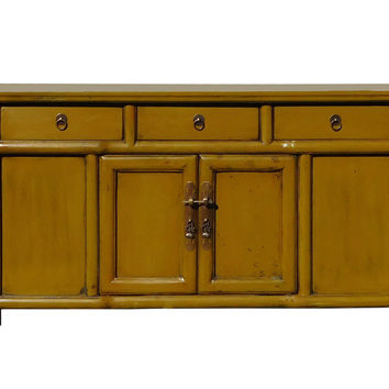 Chinese Mustard Yellow Green Low Credenza TV Console Cabinet cs1316S