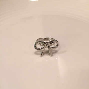 Bow Ring, Silver Bow Ring, Bow Knot Ring, Bow Charm Ring, Silver Charm Ring, Bow Charm, Stackable Ring, Gift For Her, Best Friend Gift