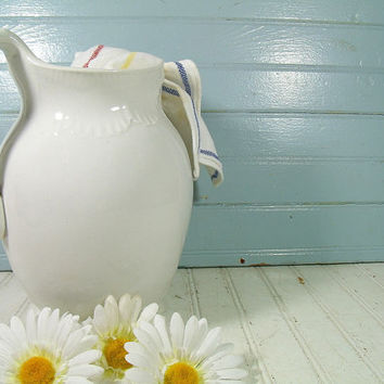 Broken White Pottery Pitcher - Vintage Rain Bow Ceramic OverSized Wash Stand Water Jug - Shabby Chic Extra Large Fresh Flowers Garden Vase