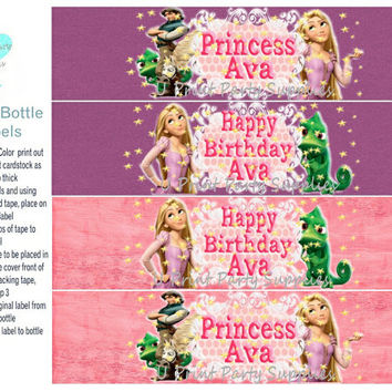 Water Bottle Labels - Tangled Theme -Pink and Purple - Personalized - Digital File -  4 Pack in set -DIY Printalbe File -Princess Party