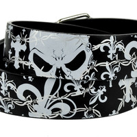 Gothic Cross w/ Skull Print Belt Genuine Leather