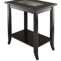 Genoa Rectangular End Table With Glass Top & Shelf