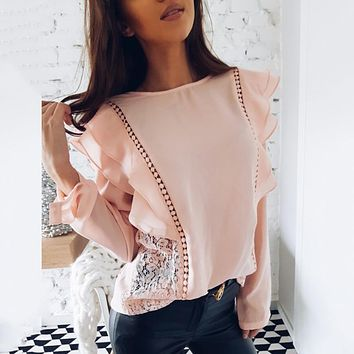 OYDDUP Spring 2018 Lady New Sexy Lace Hollow Stitched Chiffon Blouse O-Neck Long Sleeve Ruffle Sweet Causal Shirts