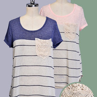 Lace Pocket Stripe Blouse - 2 Colors