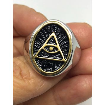 Start Your Holiday Shopping!!! Vintage 1980's Gothic Silver Stainless Steel Illuminati Eye Pyramid Men's Ring