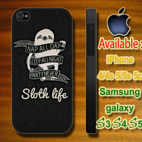 Sloth life custom design hard plastic available for iphone 4/4s,5/5s/5c and samsung galaxy S3/S4/S5 case