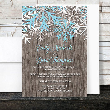 Rustic Winter Reception Only Invitations - Country Rustic Winter Wood Aqua Blue Snowflake - Snowflake Post Wedding Reception - Printed