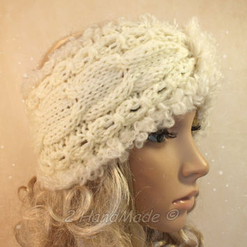 Cable Chunky Knitted Santa Christmas Headband Adult Cream of White Cable Knit Infinity Wide Headband Turban Merino Mohair Wool Xmas