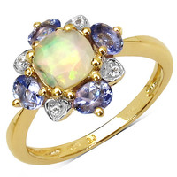 14K Yellow Gold Plated 1.20 Carat Genuine Ethiopian Opal, Tanzanite & White Topaz .925 Sterling Silver Ring
