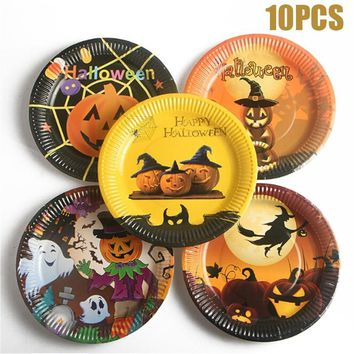 10pcs/set Colorful Pumpkin Pattern Paper Dishes Cartoon Halloween Paper Plates Disposable Tableware Halloween Party Supplies