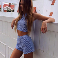 Navy Stripped Cut Out Cold Shoulder Playsuit
