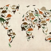 Dinosaur Map of the World Map Digital Art by Michael Tompsett - Dinosaur Map of the World Map Fine Art Prints and Posters for Sale