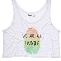 We Are All Unique Crop Tank Top