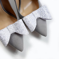 White glitter Bow- shoe clips, sparkly glitter, shoe accessories, wedding shoe, wedding shoe clips