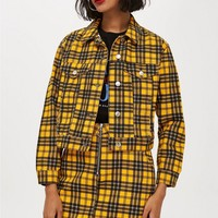 Yellow Check Denim Jacket | Topshop