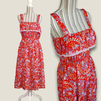 Vintage Red Sundress, Floral Print, Sleeveless, 70s, Hippie Boho Fashion, Summer Festival, Casual Dress, Peasant Folk Gypsy, Ruffle Lace Top