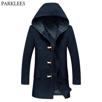 Winter Hooded Trench Coat Men 2017 Men's Long Wool Trench Coats Casual Horm Button Mens Overcoat Slim Fit Woolen Pea Coat Homme
