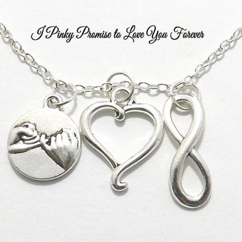 I Pinky Promise to Love You Forever Necklace - 3 Charms - Infinity Necklace - Open Heart - His Hers Couple Necklace - Boyfriend Girlfriend