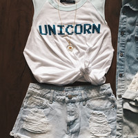 Pixelated Unicorn Tank (TEAL)