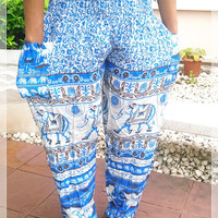 Blue Elephant Yoga Pants Baggy Boho Printed Hippie Gypsy Tribal Aladdin Fisherman Clothing Beach Baggy Casual Tank Trousers Dress Beach