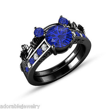 Full Black on 925 Sterling Blue Sapphire & White CZ Mickey Mouse Bridal Ring