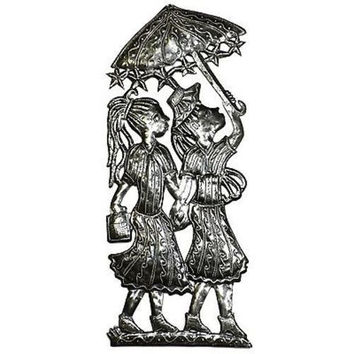Two Girls with Umbrellas Metal Wall Art - Croix des Bouquets