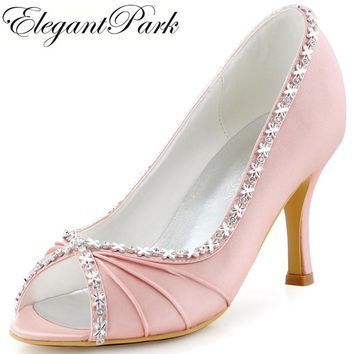EP2094 Women Pink Pumps Peep Toe Pleated Rhinestone High Heel Satin Bride Bridesmaid Prom Evening Party Wedding Shoes Navy Blue
