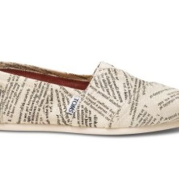 TOMS Dictionary Quotes Women's Classics Slip-On Shoes,