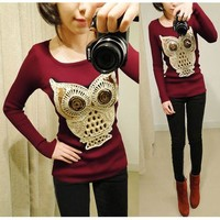 Etosell Korea Women's Cute Cartoon Owl T-shirt Casual Long Sleeve Fashion Tops
