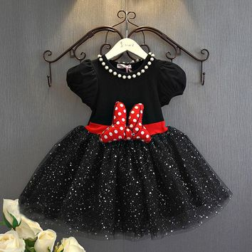 2-6yrs Summer Baby Girls Dress Minnie Mouse Dresses For Girls Princess Minnie Dress Birthday Party Children Clothes Kids Costume