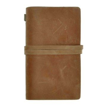 ZLYC Vintage Handmade Refillable Leather Traveler's Blank Pages Journal Diary Notepad Notebook with Strap Camel