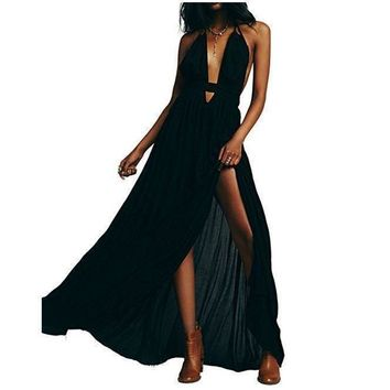 Women's Elegant Black Sleeveless Summer Maxi Dress