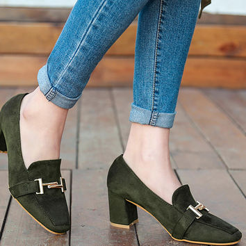 Retro Flock Shoes Mid Heeled Square Toe Elegant Flat for Women