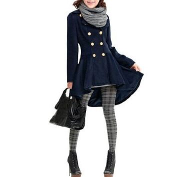 Allegra K Ladies Turn Down Collar Double Breasted Spring Overcoat Dark Blue S