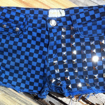 Blue Cotton Micro Shorts Plaid squares hotpants Mid Waisted Shorts Silver Pyramids Studs Design Sz 10 Jrs.