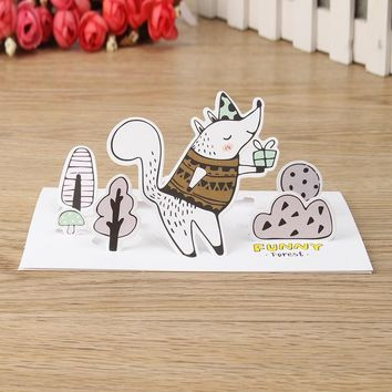 1pcs Vintage Forest Animals Cartoon 3D Greeting Card with Envelope Letter Message Cards Set Postcard Christmas Birthday Gifts