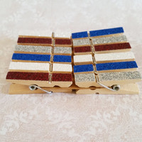 Mini Silver, Red, White, and Blue Glitter Clothespins Set of 12 for Photos, Weddings, with Twine and Screweyes, Photo, Art Display, Weddings
