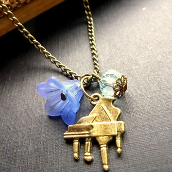 Piano necklace Vintage piano charm violet flower blue crystal
